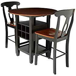 Homelegance Atwood 3-Piece Two Tone Counter Height Set Black and Espresso