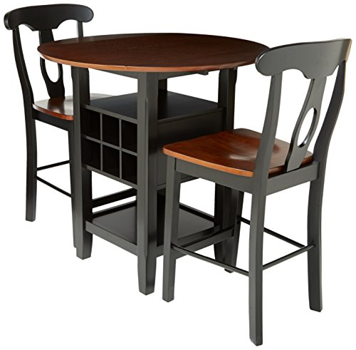Homelegance Atwood 3-Piece Two Tone Counter Height Set, Black and Espresso (Nook Table Breakfast Round)