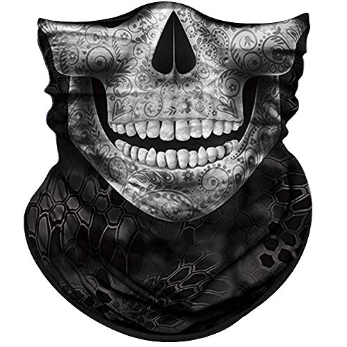 - Obacle Half Face Mask Sun Dust Wind Protection Durable Tube Face Mask Bandana Skull Skeleton Face Mask for Men Women Bike Riding Motorcycle Fishing Hunting Cycling (Skull White Face Open Mouth)