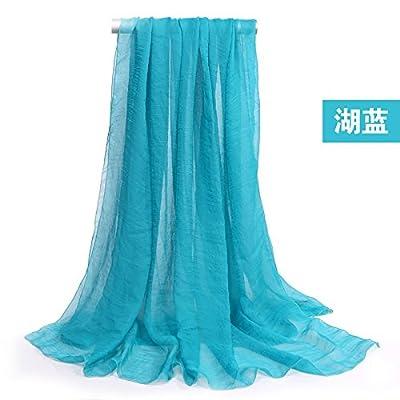 LLZWJ Châle Solaire Décoration Cadeau Mousseline De Soie Solide Écharpe  Femmes Long f9630c3620ff