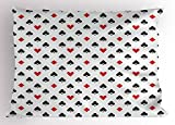 Lunarable Casino Pillow Sham, Retro Style Pattern Classical Colors with Playing Card Suits Gamble Gaming Luck, Decorative Standard Queen Size Printed Pillowcase, 30 X 20 inches, Black White Red