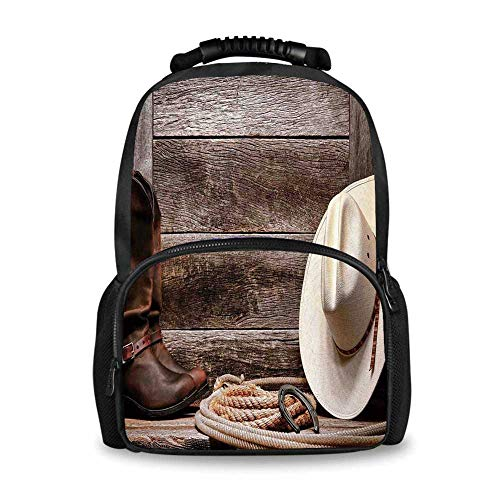 Western Decor Adorable School Bag,American West Rodeo White Straw Cowboy Hat with Lariat Leather Boots on Rustic Barn Wood for Boys,12