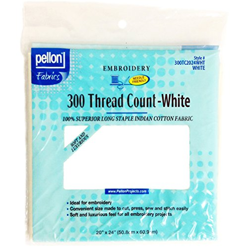 Pellon 300 Thread Count Cotton Fabric for Embroidery, 20 by 24-Inch, White (Crewel Fabric)