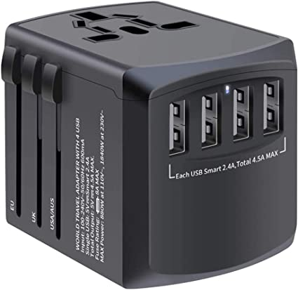 World Wide Travel Adaptador de extensión de Oslo Multi 3 UK Plug 4 USB de 2 Pin..