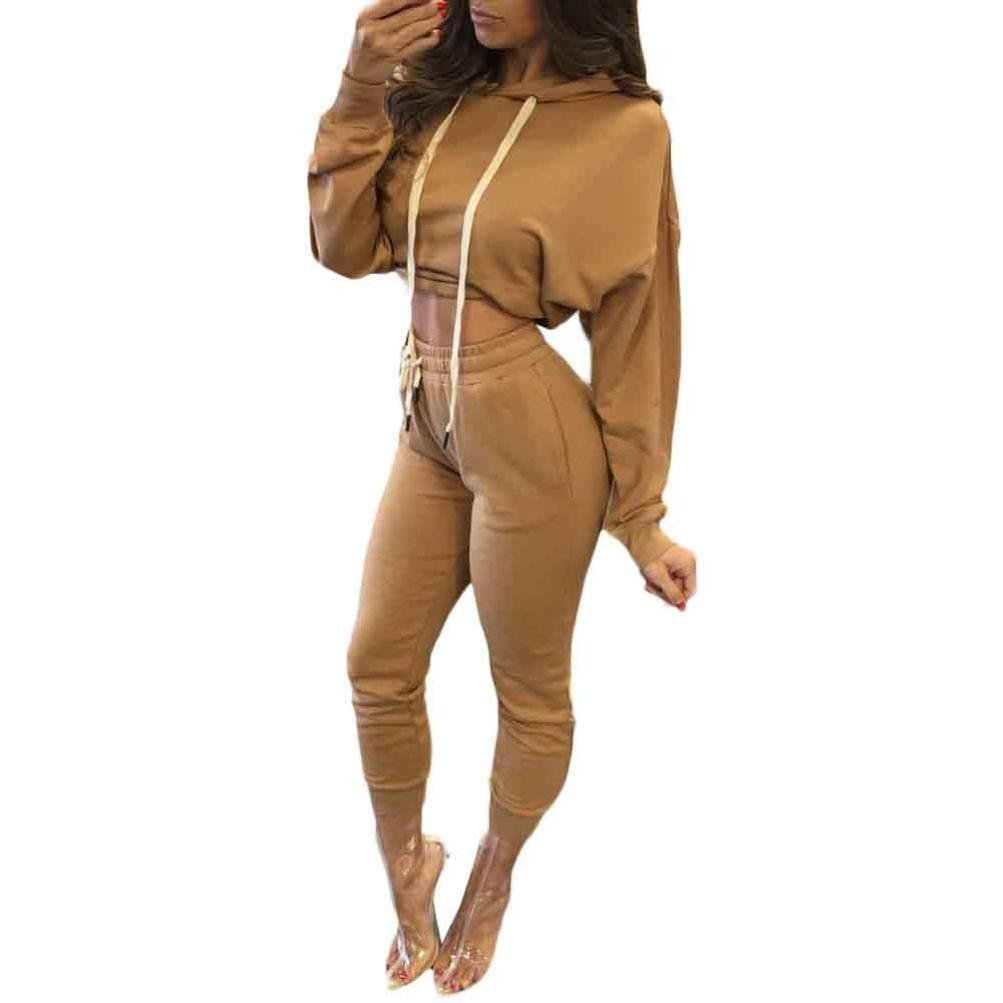 Clode Women Tracksuit, 1PC Ladies Girls Fashion Split 2 Piece Set Clubwear Bodycon Casual Outfit Sportswear (L, Khaki)