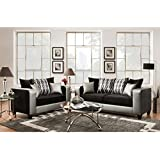 Flash Furniture Riverstone Implosion Black Velvet Living Room Set