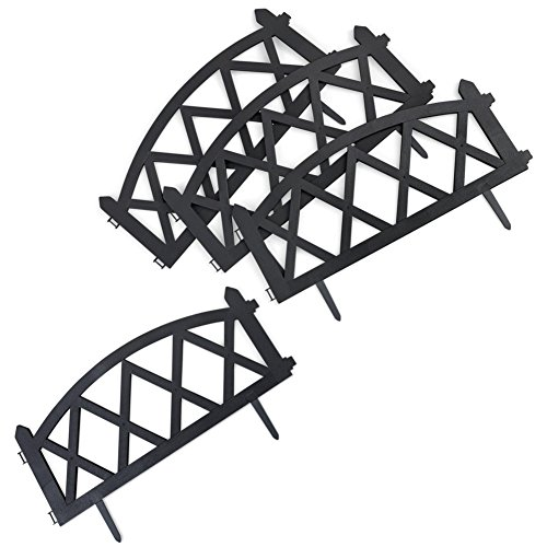 Collections Etc Easy to Install Picket Fence Plastic Garden Border Edging, Set of 4, Black ()