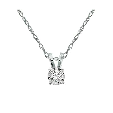 Amazon sale baby solitaire diamond pendant with 14k white gold baby solitaire diamond pendant with 14k white gold chain miracle color aloadofball Image collections