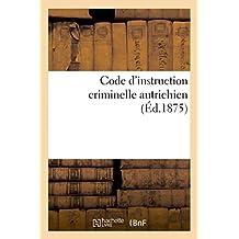 Code D'Instruction Criminelle Autrichien