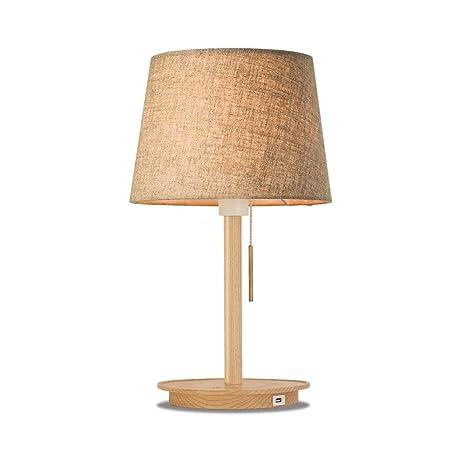 BeiMi Lámpara de mesa con base de madera - Lámpara de mesa de ...