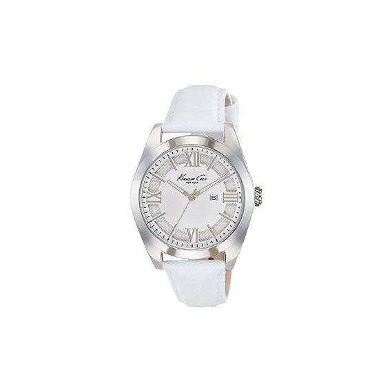 Kenneth Cole 10021282 - Reloj con Correa de Acero para Mujer, Color Blanco/Gris