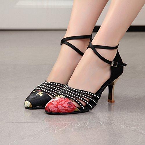 Miyoopark MiyooparkUK-HW180302 - Zapatillas de Danza Para Mujer Black-7.5cm Heel