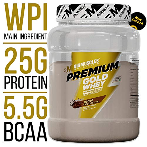 LD Bigmuscles Nutrition Premium Gold Whey 1Kg Rich Chocolate Whey Protein Concentrate Whey Protein Isolate 25g Protein Per Serving 0g Sugar 5 5g BCAA 4g Glutamic Acid
