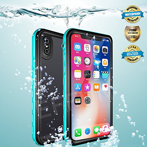 Effun iPhone X Waterproof Case, Wireless Charging Support IP68 Certified Waterproof Cover Dust/Snow/Shock Proof Case with Cell Phone Holder, PH Test Paper, Stylus Pen and Floating Strap Aqua Blue