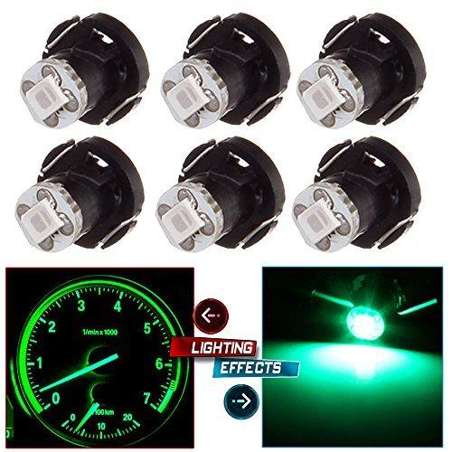 cciyu 6 Pack T4/T4.2 Neo Wedge LED Bulb A/C Climate Control Lights (green)
