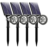 Mpow 6 LED Solar Spotlight Outdoor Landscape Lighting Wall Light Security Night Lights for Garden Lawn Wall Patio Yard Pathway (4packs)