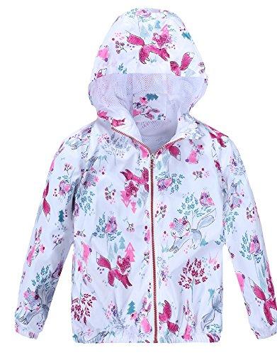 Jingle Bongala Girls Lightweight Jacket Hooded Cartoon Coat Outerwear Windbreaker for Spring Fall (Kids Unisex Hooded Jacket)