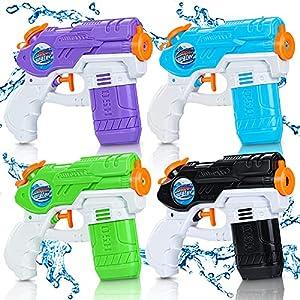 Lenbest 4 Pack Pistolas de Aagua, 150ML Pistolas Juguetes Agua, Pistolas de Chorro de Largo Alcance de 7 m, Peleas de Agua, Piscina, Playa, Juguete de Lucha al Aire Libre, Regalos Veranos para Niños