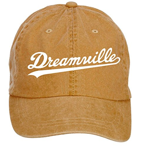 [Blissshirt Men J Cole Dreamville Logo Cotton Adjustable Peaked Baseball Cap Brown] (Logo Adjustable Cotton)