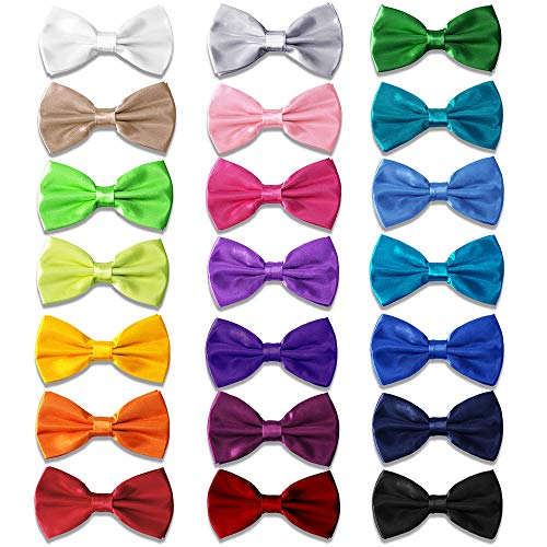 AVANTMEN 9 PCS Pre-tied Adjustable Men's Bow Tie for Boy in Gift Box Mixed Color Assorted Ties (21 Pack Satin Black)