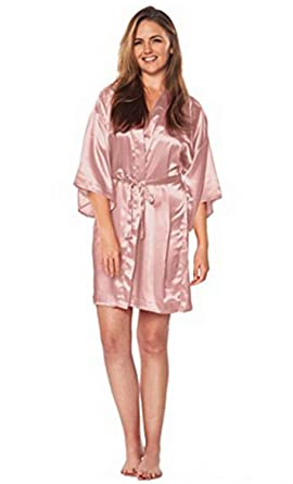 5109e5f9e81 Image Unavailable. Image not available for. Color  Women Silk Satin Short  Night Robe Solid Kimono Robe Fashion Bath ...