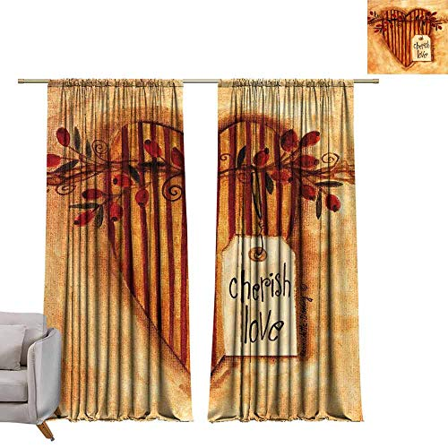 berrly Drapes for Living Room Cherish Love W96 x L84 Tie Up Printed Blackout Curtain