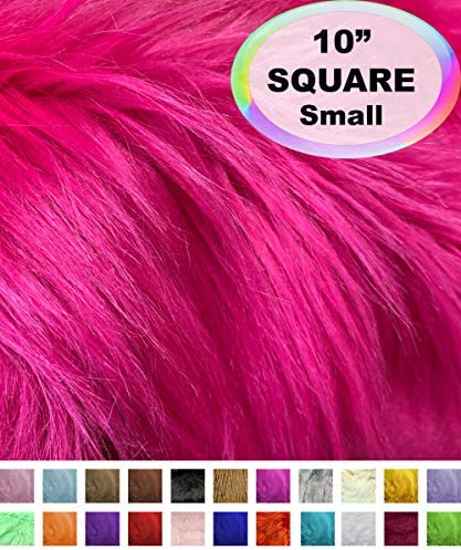 Barcelonetta | Faux Fur Squares | Shaggy Fur Fabric Cuts, Patches | Craft, Costume, Camera Floor & Decoration (Fuchsia, 10″ X 10″)
