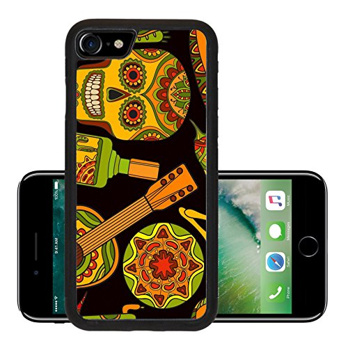 Luxlady Premium Apple iPhone 7 Aluminum Backplate Bumper Snap Case iPhone7 IMAGE ID: 44881698 Vector seamless pattern with traditional mexican symbols guitar cactus tequila chili pepper ma