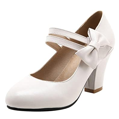 JOJONUNU Damen Mode Mary Jane Pumps Low Heel Beige Size 41 Asian