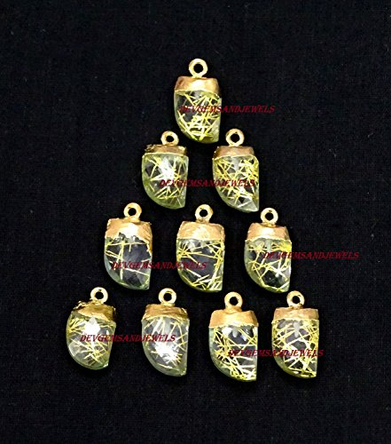 - 5 Pcs. Lot Golden Rutilated Quartz Hydro Faceted Horn Pendant, Leaf , Small Horn , Gold Electroplated Single Bail Horn / Spike Charm Pendant For Sale Lot.