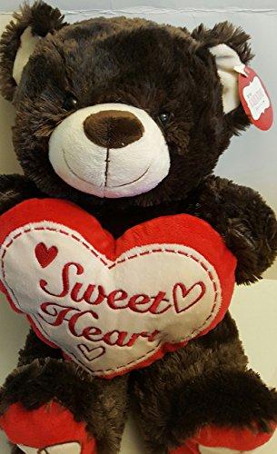 DanDee Large Red Dark Brown Plush Teddy Sweetness Bear w/Red Heart