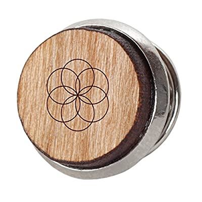 Seed of Life Stylish Cherry Wood Tie Tack- 12Mm Simple Tie Clip with Laser Engraved Design - Engraved Tie Tack Gift