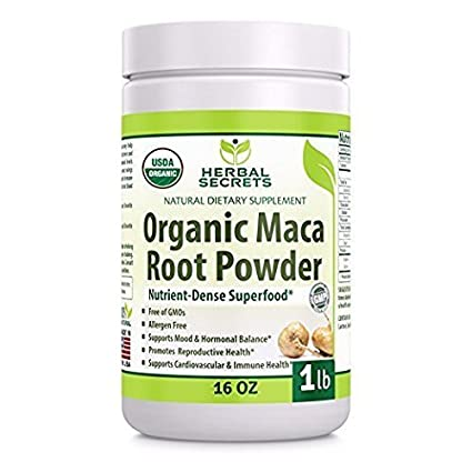 Herbal Secrets USDA Certified Organic Maca Root Powder- 16 oz (1 lb)-