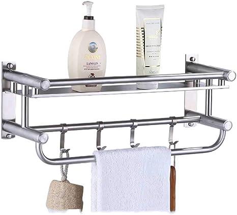 Mooche Bathroom Towel Racks 16 GZ8040-B 40cm with Double Towel Bar Wall Mounted Towel Shelf Heavy Duty Shower Rack Stainless Steel Matte Black