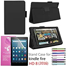 EpicGadget PU Leather Folding Folio Case with Screen Protector and Random Color Stylus for Fire HD 8 - Black