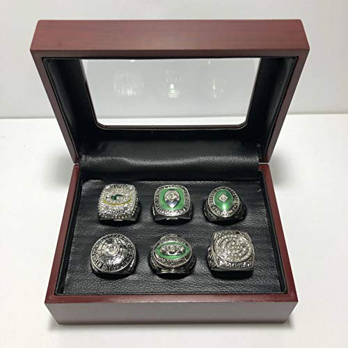 (Set of 6 Green Bay Packers Super Bowl XXXI XLV & League Championship Replica Ring W/Box-Various Sizes Silver Color Collectible)
