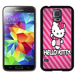 Fashion DIY Custom Designed Samsung Galaxy S5 Phone Case For Pink Hello Kitty With Striped Background Phone Case Cover