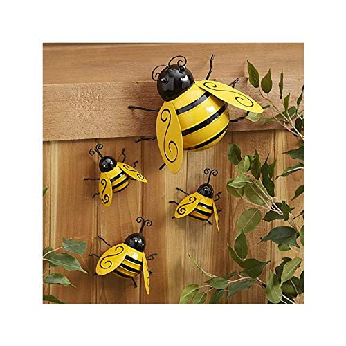 bestheart Retro Country Decoration Metal Bumblebee Wall Decoration Fence 3D Sculpture Ornaments (S)