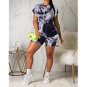 Rela Bota Womens 2 Piece Shorts Set – Club Outfits Tie Dye Print Short Sleeve T-Shirts Bodycon Shorts Set Jumpsuit Rompers