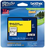 """Genuine Brother 1-1/2"""" (36mm) Black on Yellow TZe P-touch Tape for Brother PT-9600, PT9600 Label Maker"""