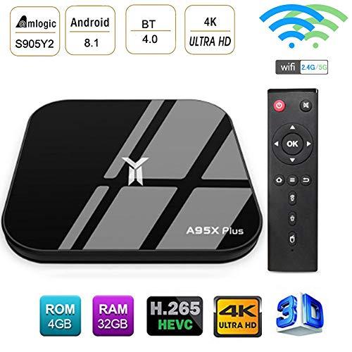 LQQZZZ Android 8.1 TV Box, Amlogic 4K 4GB RAM 32GB ROM TV Box 2.4G / 5G Wifi USB3.0 3D BT 4.0 Multimedia Player