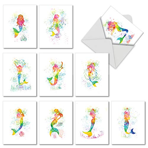 Funky Rainbow Mermaids: 10 Assorted Blank All Occasions Greeting Cards Featuring Fantastical Underwater Figures Swimming Free, with Envelopes. AM6863OCB-B1x10