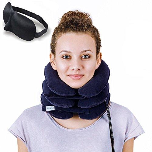 DaviSMART Cervical Neck Traction Device - Effective Neck Pain Remedy at Home - Inflatable & Adjustable Neck Stretcher + EYE MASK BONUS (Dark Blue)