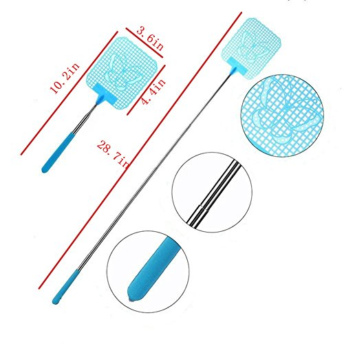 TANG SONG 6PCS Extendable Fly Swatter Durable Mosquito Zapper Bug Killer  Insect Zappers Strong Flexible Manual Swat with Telescopic Handle(Red &  Blue