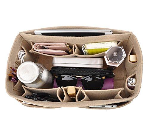 12-Pocket Felt Purse Organizer, Bag Handbag Organizer Insert For Women, Bag in Bag, Speedy 30 and Speedy 35 Beige M