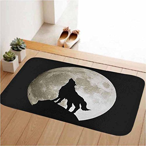 ToLuLu Small Doormat Low Profile Door Mat Door Indoor/Bedroom/Front Door/Bathroom/Kichten etc Mats,23.6 x 15.7 inches,Anti-slip,Lock water,enviroment,Howling wolf
