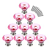 Haoun 10 Pcs Dresser Knobs, Crystal Glass Cabinet Knobs 30mm Diamond Shape Drawer Pulls Handles - Pink