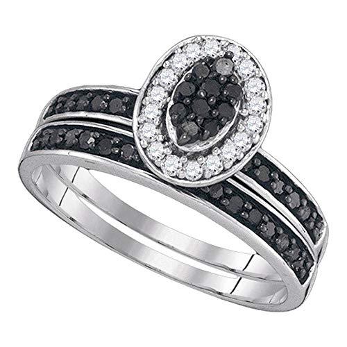 (Mia Diamonds 10k White Gold Black Color Enhanced Diamond Womens Cluster Bridal Wedding Engagement Halo Ring Set (.50cttw) (I2-I3)- Size)