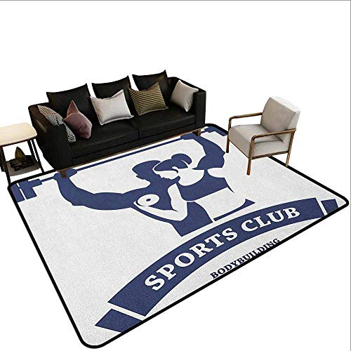Conference Room Carpet Fitness,Sports Bodybuilders Club Man and Woman with Dumbbells Muscles Biceps Form, Dark Blue White