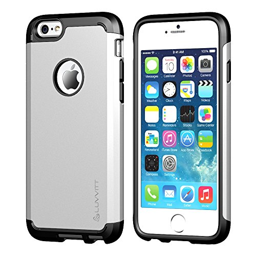 (iPhone 6s Plus Case, LUVVITT [Ultra Armor] Shock Absorbing Case Best Heavy Duty Dual Layer Tough Cover for Apple iPhone 6/6s Plus - Black/Silver)